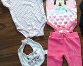4 item Lot onesie pants bib Disney Minnie Mouse Sandy & Simon Cat 3-6 months 3m
