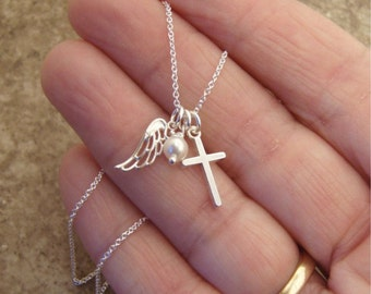 Sterling silver Angel wing and cross necklace - Pearl or Birthstone charm - Girl's first communion - Godmother gift -  goddaughter gift