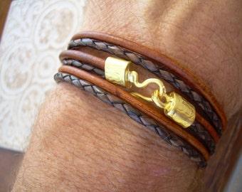 Triple Wrap Bracelet with 22k Gold Plated Hook Clasp, Leather Bracelet, Mens Bracelet, Womens Bracelet, Mens Jewelry, Womens Jewelry