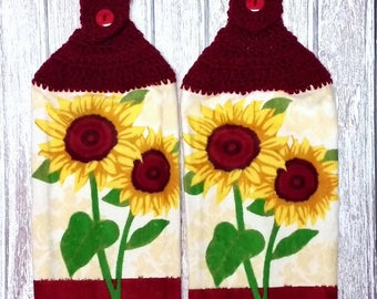 Crochet Towel Topper Sunflower Hanging Kitchen Towels Country Kitchen Decor Tea Towels Dish Towels Housewarming Gift