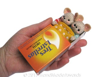 Twin Little Mice Sleeping in Matchbox