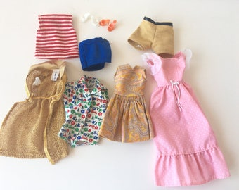 Vintage Barbie doll clothing 1970s dress romper striped shirt shorts swimsuit cover up gold