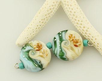 Lampwork Glass Beads, Earring Pair,  Ocean Beach Jewelry, Blue Beige
