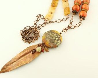 Lampwork Necklace - Antique Copper Chain,   Beaded Jewelry, Gemstones, Brown, Orange, Gold