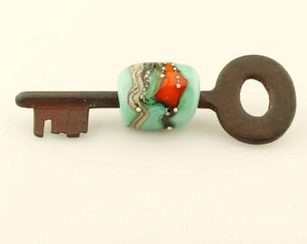 Lampwork Key Bead Glass Bead on Vintage Skeleton Key Aqua Orange Silver