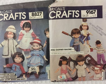 "McCalls 8827 & 9167 TWO VINTAGE SEWING patterns doll clothes Fisher Price Friends jcoats dress overalls 16"" dolls majorette tennis jogging"