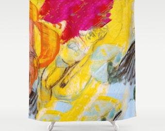 Shower Curtain Art, home decor, from painting girl, bathroom decor, polyester curtain, colourful, blue summer, spanish art