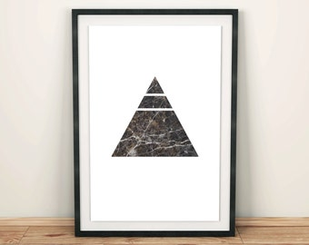 Dark Grey Marble Geometric Triangle Print, Minimalist Wall Art, Modern Art, Design