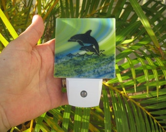 Dolphin Fused Glass LED Night Light