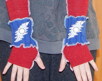 Grateful Dead Arm Warmers US Blues 13 pt Bolt Lace Fall Christmas Gloves
