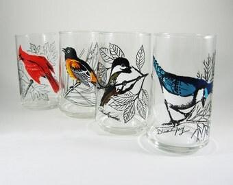 Vintage Bird Drinking Glasses Set