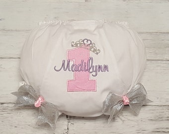 Pink Lavender and Silver Princess Crown Birthday Personalized Diaper Cover Bloomers with Bows  AGE 1  2  3