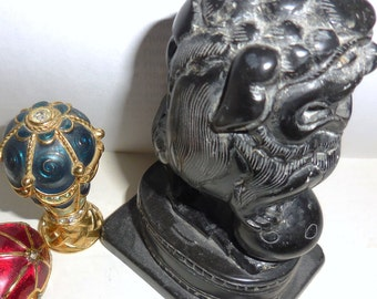 Foo Dog Feng Shui  Black Onyx Paperweight Figurine Chinese Art Carved Foo Dog