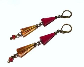 Falling Fire - Crystal Cone Drop Earrings in Antique Brass