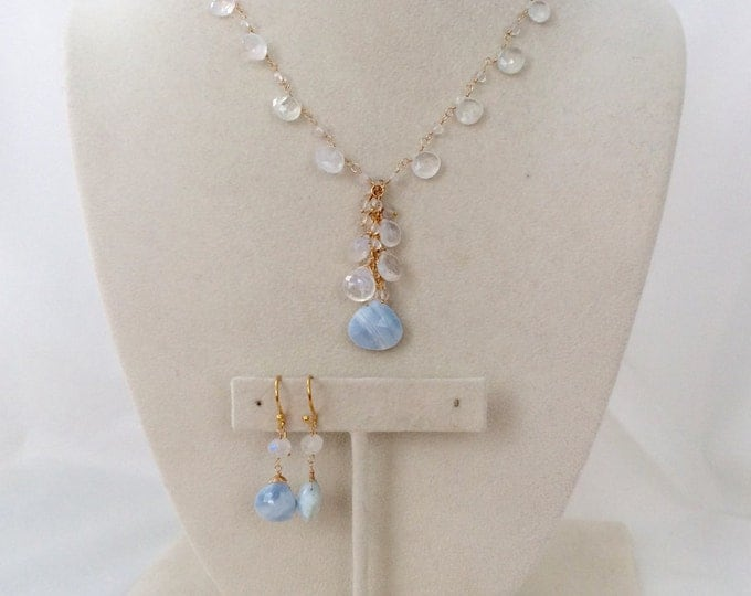 Bridal Jewelry Set in Gold fill and Peruvian Blue Opal, Rainbow Moonstone, Crystal Quartz