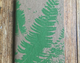 small pocket sized FERN nature forest patterned blank field notebook