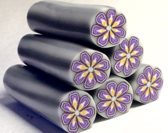Polymer Clay Cane, Purple and Yellow Flower, Raw, Unbaked Clay