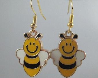 Honey Bee Earrings --Choose Clip On, Leverbacks, Ball Post Studs, or Surgical Steel Fishhooks