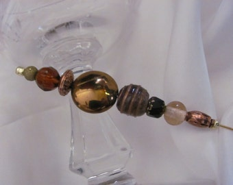 """Hat Pin Gold Beaded Brooch Lapel Hat Hijab Scarf Pin Stick 6"""" Inch Long - Many to Choose From! (#05)"""