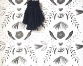 Removable Wallpaper / Damask Eye Print / Perfect for renters fully removable