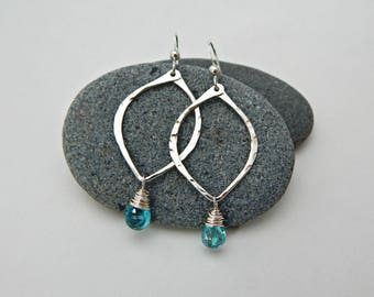 inner voice. blue apatite and sterling silver hoops. chakra jewelry. throat chakra. yoga jewelry. energy amplifier. adirondack earrings.