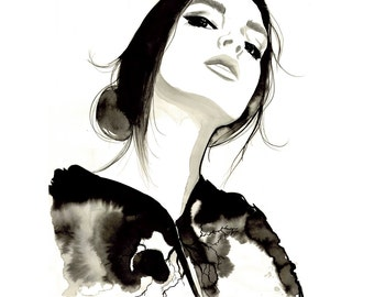 Transfusion, print from original watercolor and pen fashion illustration by Jessica Durrant