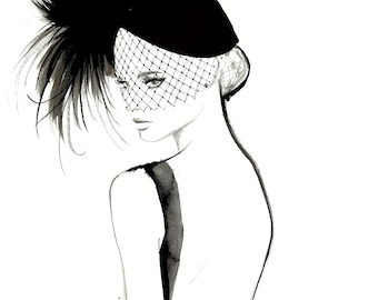 All Things French Considered, print from original watercolor and mixed media fashion illustration by Jessica Durrant