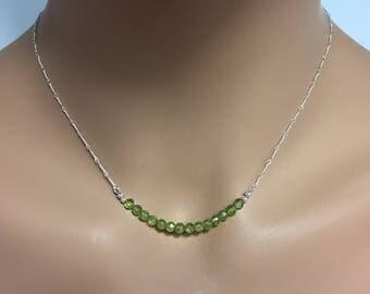 Peridot Gemstone Bar Necklace in Sterling Silver