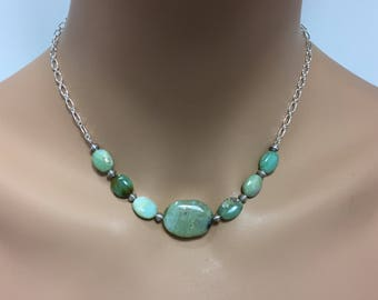 Organic Peruvian Blue Opal Necklace in Sterling Silver