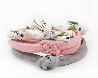 Baby Headband, Baby Knot Headband Set, Newborn Headband, Floral Headband, Baby Girl, Baby Girl Headband, Pink Headband, Top Knot, Baby Bow
