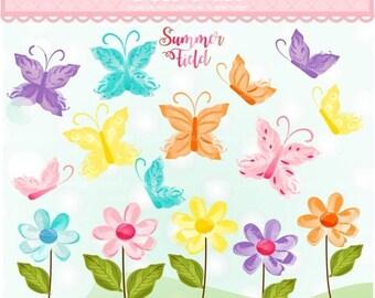 ON SALE Summer Butterfly clipart,Summer Daisy clipart, flowers digital clipart, digital download