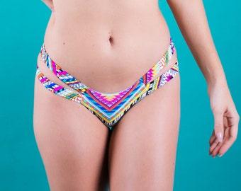Wild Child-Chevron 2 Strap Bikini Bottom-Cheeky Fit