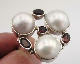 925 Silver Pearl Garnet ring, Adjustable silver ring, White stone ring, Red Garnet Ring, Natural stone ring, Free shipping, Ready to ship