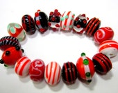 17 Lampwork beads assorted red beads jewelry 10mm x 14mm jewelry making beads SB1