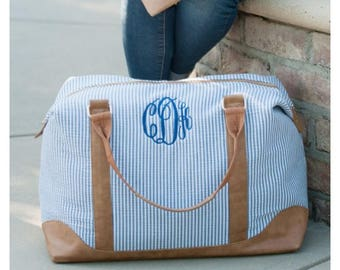 SPECIAL 3 PIECE SET: Monogrammed Blue and White Seersucker Weekender/Travel Bag, Shoulder Bag & Accessory Pouch