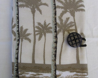 E-reader cover, Samsung Galaxy Tablet 4 Nook, Kindle Fire, repurposed fabric, tan, palm trees
