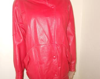 Red Leather 80's Hip Hop Long Jacket - Size