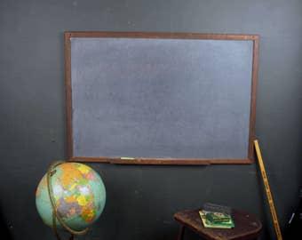3ft Vintage 1950s Slate School Chalkboard w/ Wood Frame and Chalk Shelf