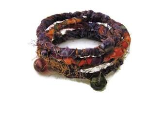 Bohemian Fiber Wrapped Wire Bangle Bracelets Hippie Gypsy Jewelry