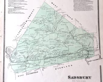 Original 1873 Chester County Pennsylvania Atlas map of Sadsbury Township Parkesburg Victory Brewing sadsburyville