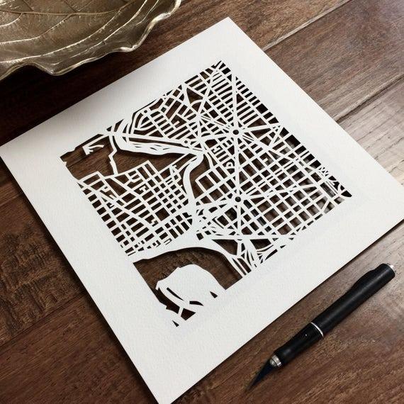 custom hand cut map, 10x10.