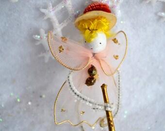 Vintage Christmas Angel Trumpet Ornament - Tulle Chenille Tie On Pick