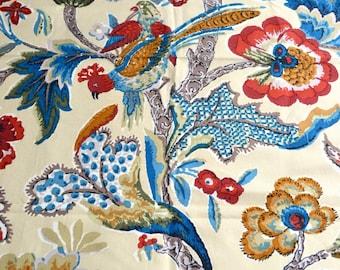 Vintage Warner Chalgrove Fabric - Jacobean Bird Tree Flowers - 25 x 35 Sample