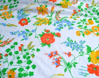 Vintage Bed Sheet - Burlington Summer Floral - Twin Flat NOS