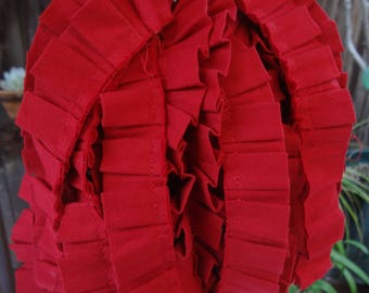 Box Pleated Red Cotton Trim
