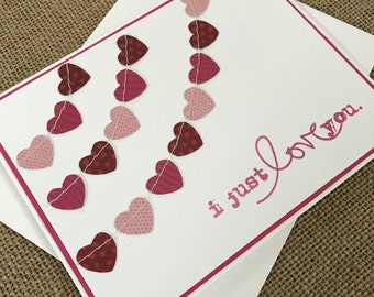 i just love you with paper heart banners - Handmade Greeting Card