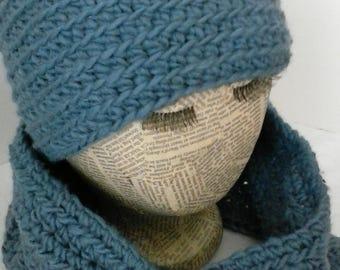 Wool hat and cowl set  Indigo blue beanie  Matching infinity scarf  Women and girls wear  Ski wardrobe