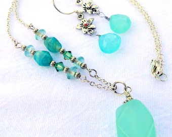 Aqua Chalcedony and Jade Necklace and Earrings Set