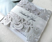 Silver Glitter Lace Laser Cut Wedding Invitation Suite for Vintage Wedding - Laser Cut Gate Fold, Insert Card, RSVP Card, and Envelopes