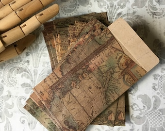 Map Lovers Envelopes ... 3x5 Antique Look Coin Vintage Style Envelopes Small Envelopes Thank You Notes Cartography Stationery Weddings
